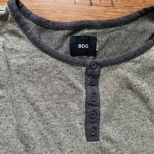 BDG Shirts - Grey and White Marled Baseball Tee Henley